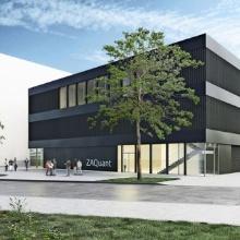 Das neue dreigeschossige Gebäude des Zentrums für angewandte Quantentechnologie soll sich optisch an die umliegenden Unigebäude anpassen. Foto: Hammeskrause Architekten